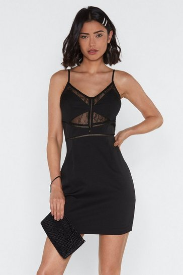 Womens Black Sooner Rather Than Ladder Lace Bodycon Dress