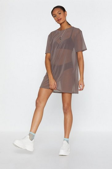 Womens Mocha See Clearly Now Mesh Dress