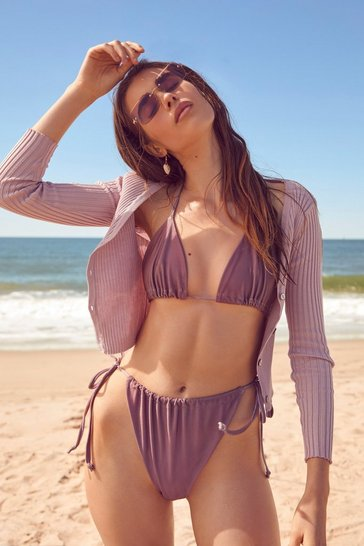 Mauve Rockaway Beach High-Leg Bikini Bottoms
