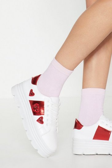 Womens White Down to a Fine Heart Platform Trainers