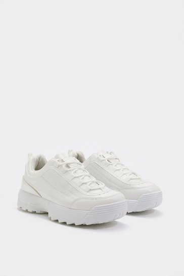 Womens White Razor Sole Chunky Trainer