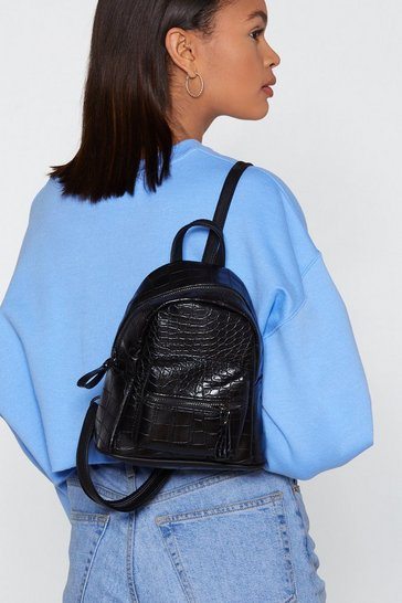 Womens Black Croc Structured Mini Backpack