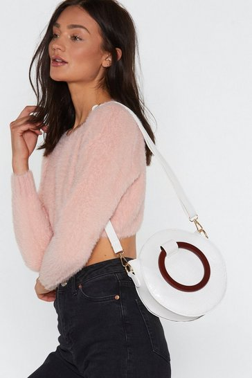Womens White WANT Handle It Circle Shoulder Bag