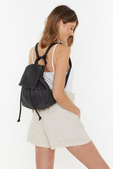 Womens Black Woven Straw Backpack