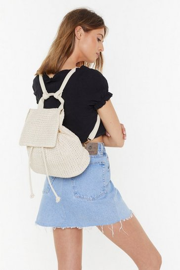 Cream Woven Straw Backpack