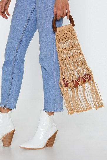 Womens Tan WANT Caught You Crochet Tassel Bag