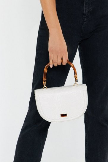 Womens White Croc Semi Circle Structured Bamboo Handle Bag