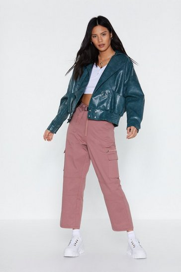 Teal Go With the Faux Leather Cropped Jacket