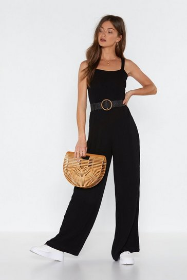 Black Jump to It Cheesecloth Wide-Leg Jumpsuit