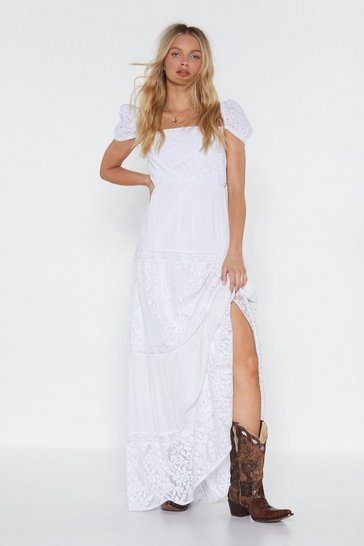 Womens White Good Times A-thread Broderie Maxi Dress