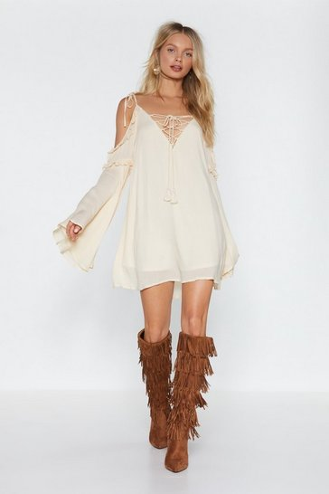 Womens Cream Just Sleeve It Cold Shoulder Dress