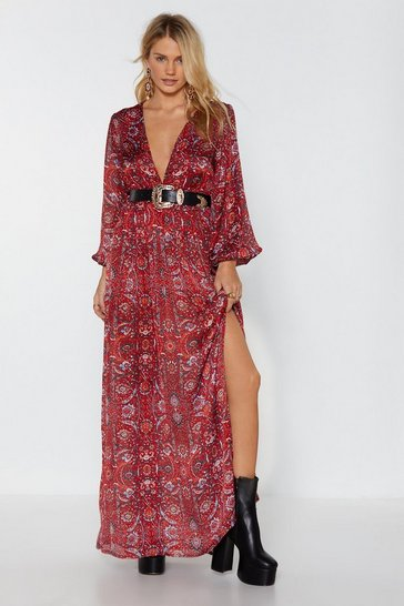 Womens Red Big Love Paisley Maxi Dress