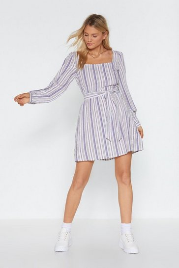 White Stripe On Schedule Square Neck Mini Dress
