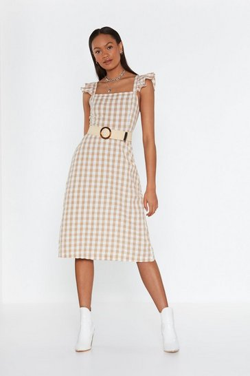 Womens Toffee Frill Detail Maxi Dress In Cotton Gingham