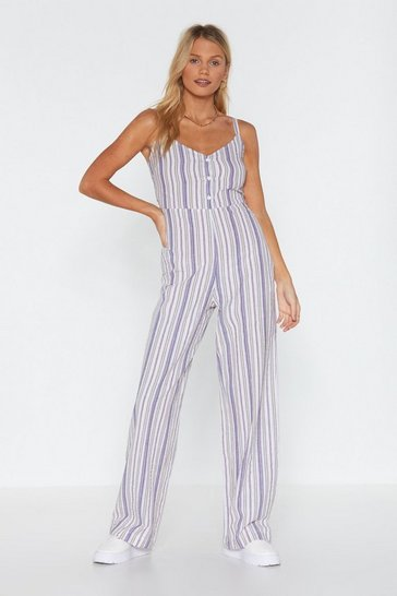 Womens White Stripe-er Active Wide-Leg Jumpsuit