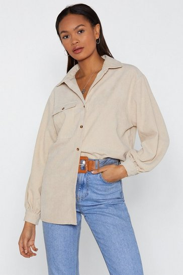 Ecru Oversized Corduroy Shirt with Flap Pocket at Chest