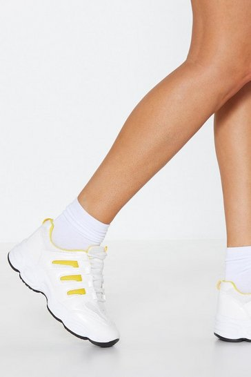 Womens Yellow Side On Chunky Trainers