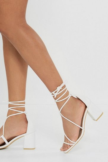 White Strappy Lace Up Block Heel Sandals