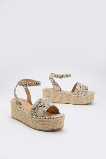 Womens Natural Raise the Snakes Woven Platform Sandals