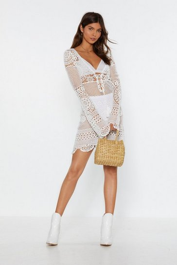Womens White Crochet It Forward Lace-Up Mini Dress