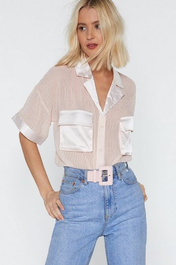 Pink See It Through Clear Square Buckle Belt