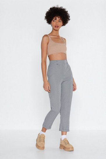 Womens Black Ready to Turn-Up Check Pants