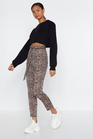 Natural Quick to React Leopard Trousers