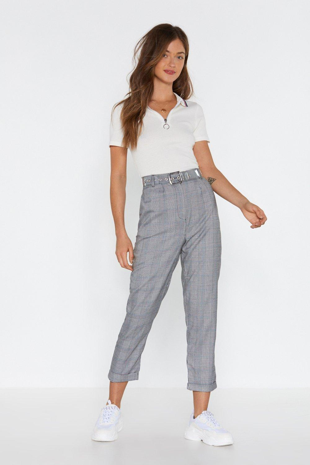 Pick Up The Check Tapered Pants by Nasty Gal