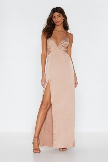 Womens Nude Look At You Satin Maxi Dress
