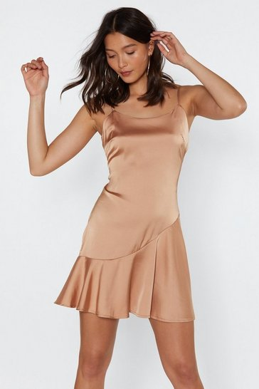 Womens Gold So Vain Satin Dress
