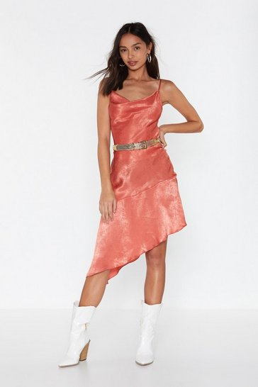 Womens Rust Baby Love Satin Cowl Dress