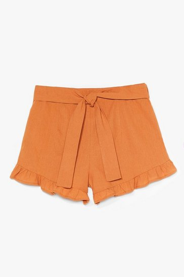 Camel End Game Ruffle Linen Shorts