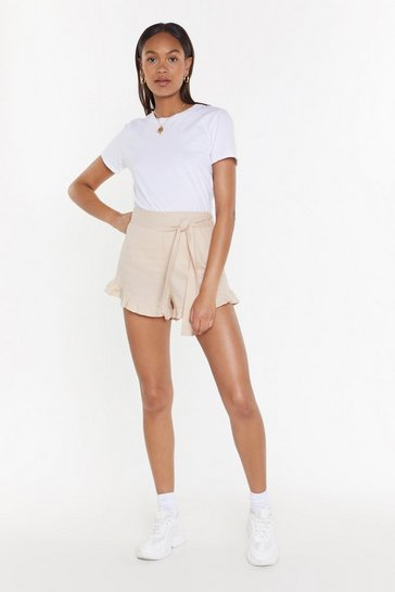 Natural End Game Ruffle Linen Shorts