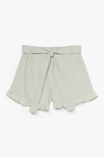 Sage End Game Ruffle Linen Shorts