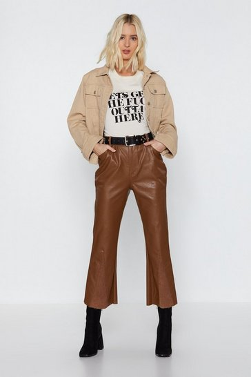 Womens Tan Flare to Explain Faux Leather Corduroy Trousers