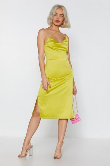 Womens Lime Don't Worry Be Strappy Satin Dress