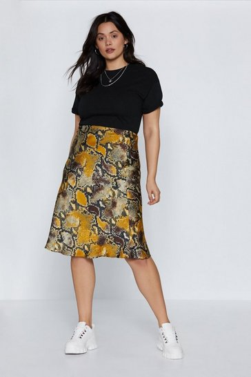 Womens Grey Snake Money Moves Midi Skirt