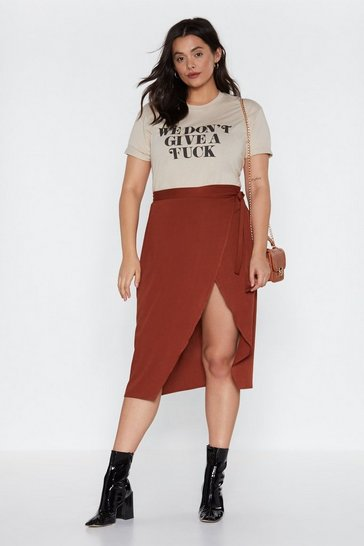 Womens Terracotta It's a Wrap Midi Skirt