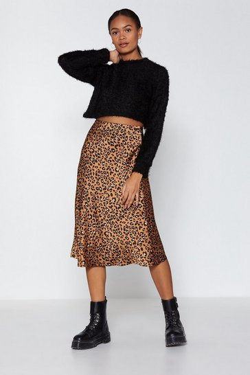 Tan Come Down Leopard On 'Em Midi Skirt