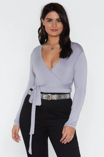 Womens Mauve Truly Madly Deeply Plunging Wrap Top
