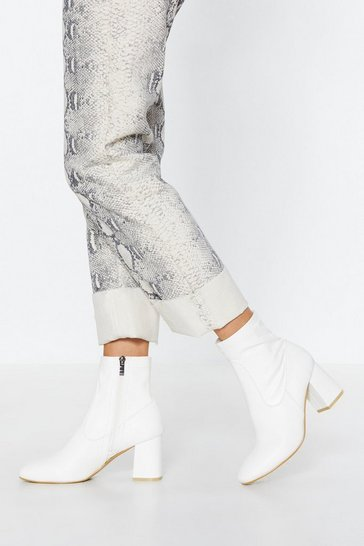 White Heeled Ankle Sock Boots