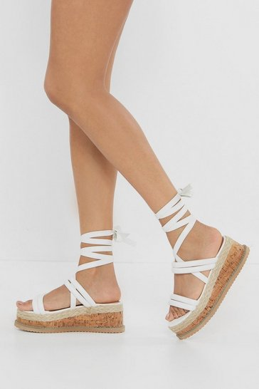 Womens White Put a Cork in It Wrap Platform Sandals
