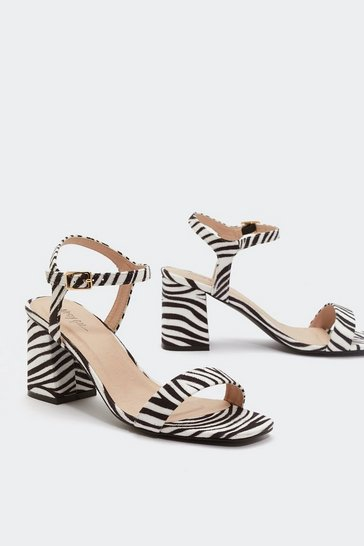 Womens White Hunt 'Em Down Zebra Heels