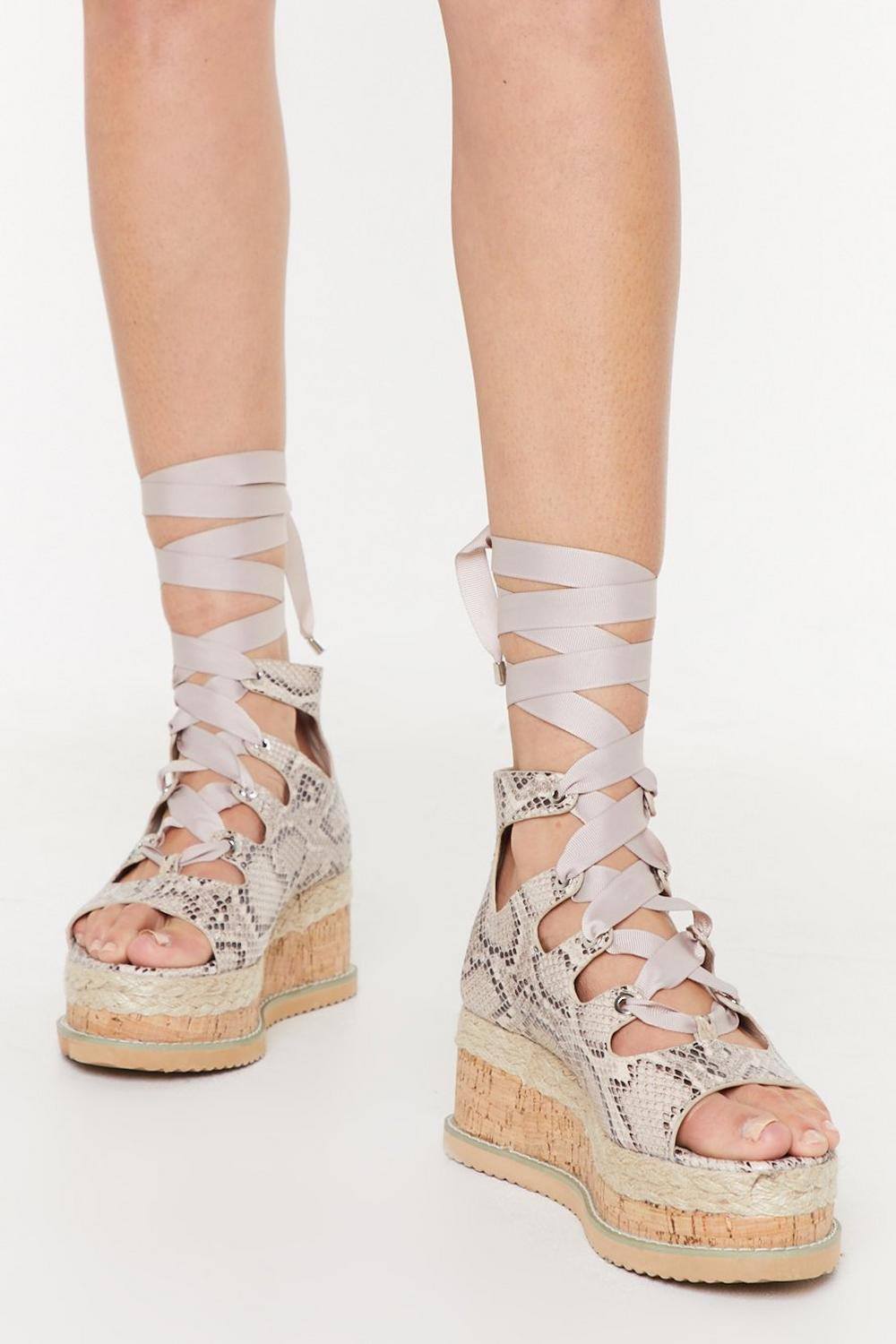 Snake That Platform Lace Up Sandals by Nasty Gal