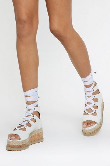 Womens White Ghillie Lace Up Cork Flatform Sandal