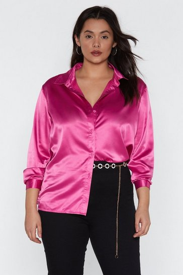 Womens Hot pink Satin the Game Shirt