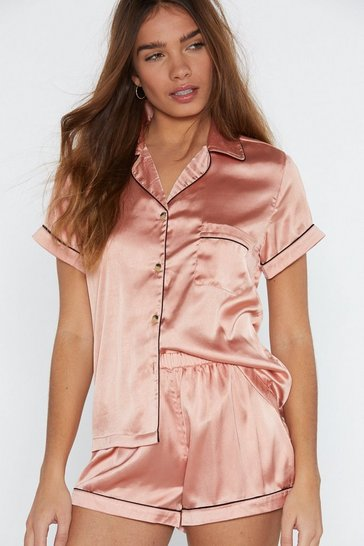 Womens Rose gold Satin Chilling Out Top and Shorts Pajama Set