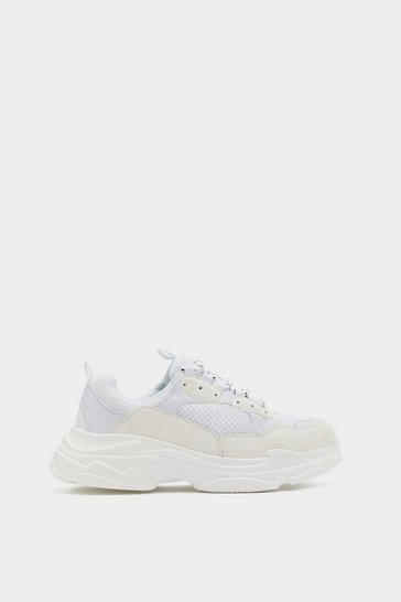 White Chunky Mesh Sneakers with Lace-Up Closure