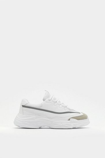 Womens White It's Line Time Now Chunky Trainers