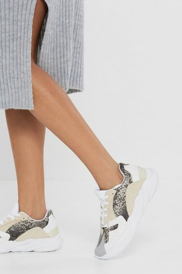 Womens Beige Let's Do Hiss Again Snake Chunky Trainers